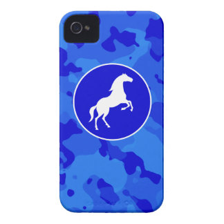 Horse on Blue Camo; Camouflage iPhone 4 Cases