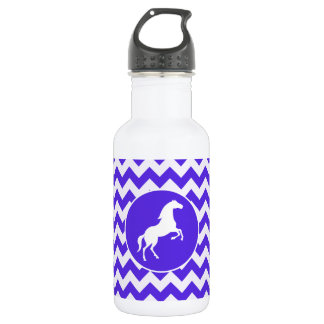 Horse on Blue Violet Chevron; Equestrian 532 Ml Water Bottle