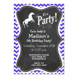 Horse on Blue Violet Chevron; Equestrian Card