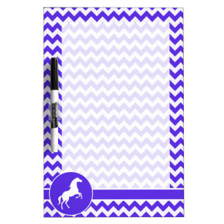 Horse on Blue Violet Chevron; Equestrian Dry Erase Board