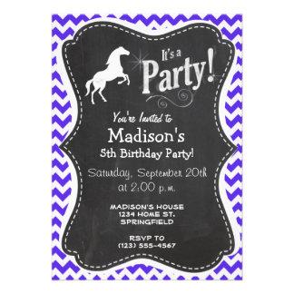 Horse on Blue Violet Chevron Equestrian Personalized Invite