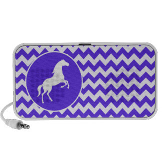 Horse on Blue Violet Chevron; Equestrian Mp3 Speaker