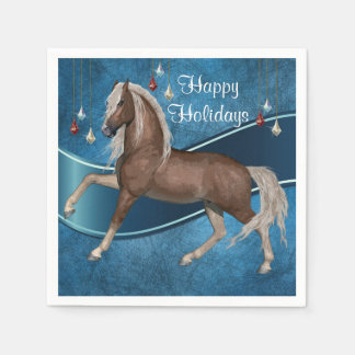 Horse On Blue With Ornaments Happy Holidays Disposable Serviette