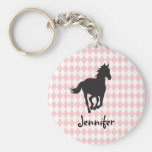 Horse on Diamond Pattern Template Basic Round Button Key Ring