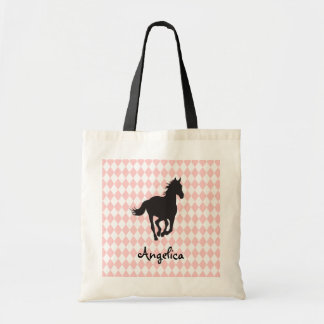 Horse on Diamond Pattern Template Tote Bag