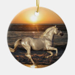 Horse on the Beach Round Ceramic Decoration