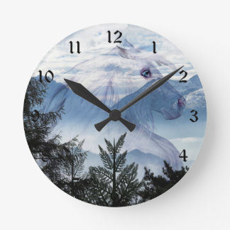 Horse outline on mountains round clock
