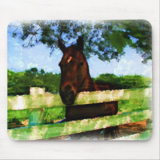 Horse Over Fence Painting Mouse Pad
