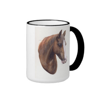 Horse Painted in Watercolour Ringer Mug