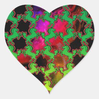 Horse Pattern Heart Sticker