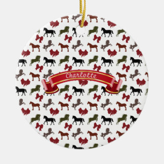 Horse Pattern with Bows Custom Christmas Ornament