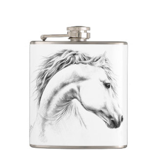 Horse portrait pencil art Flask