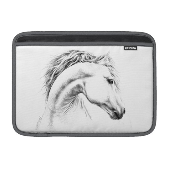 Horse portrait pencil drawing Macbook Air sleeve