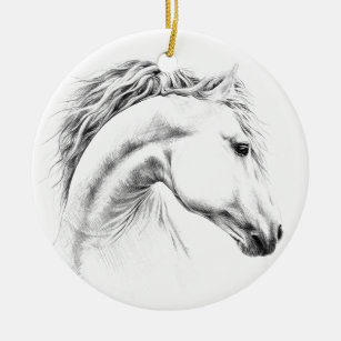 Christmas Horse Drawing.Horse Portrait Pencil Drawing Ornament
