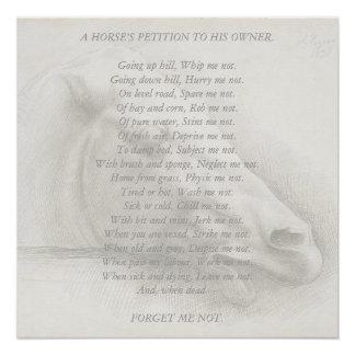 Horse Portrait Poem Petition to Owner Vintage