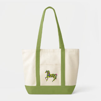 Horse prancing funky floral flowers colorful fun tote bag