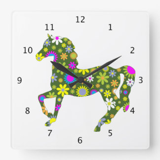 Horse prancing funky floral retro flowers colorful square wall clock