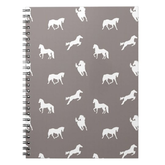 Horse Print Taupe Spiral Notebook