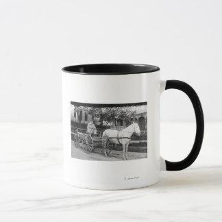 Horse pulling Delivery Wagon Photograph Mug