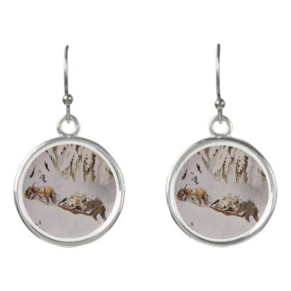 Horse Pulling Sled Through the Woods Earrings