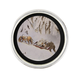 Horse Pulling Sled Through the Woods Lapel Pin