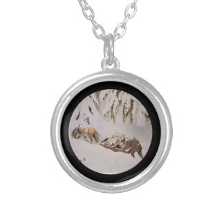 Horse Pulling Sled Through the Woods Round Pendant Necklace