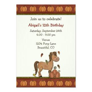Horse & Pumpkins Autumn Birthday Invitation