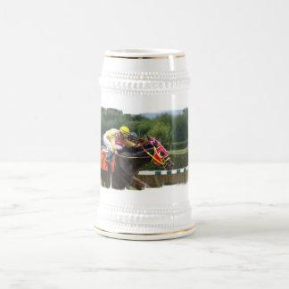 Horse Race Finish Beer Stein 18 Oz Beer Stein