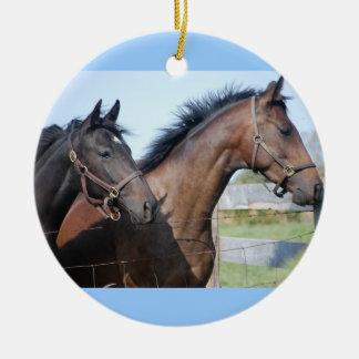 Horse Race Finish Line Round Ceramic Decoration