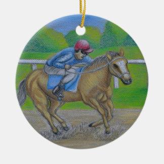 Horse race round ceramic decoration