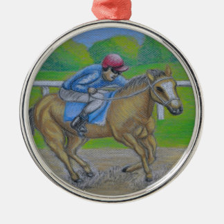 Horse race Silver-Colored round decoration