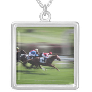 horse race silver plated necklace