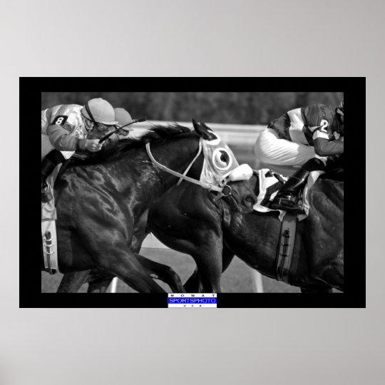 Horse Racing 002 B&W Mowat SpPh Poster