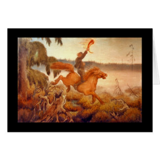 Horse Racing Across the Grass 1902 Greeting Card
