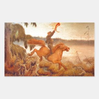 Horse Racing Across the Grass 1902 Rectangular Sticker