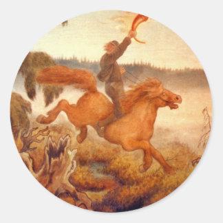 Horse Racing Across the Grass 1902 Round Sticker