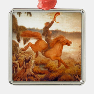 Horse Racing Across the Grass 1902 Silver-Colored Square Decoration