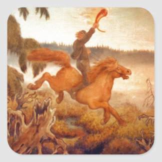 Horse Racing Across the Grass 1902 Square Sticker