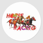 Horse Racing Action Classic Round Sticker