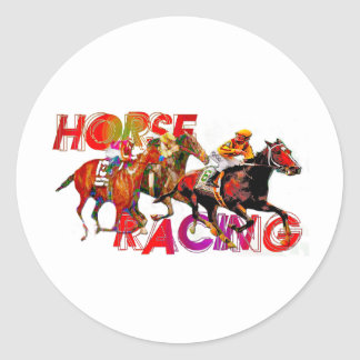 Horse Racing Action Round Sticker