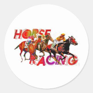 Horse Racing Action Round Sticker