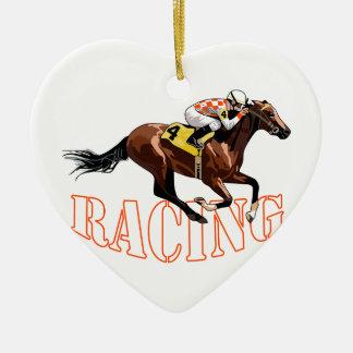 Horse Racing Ceramic Heart Decoration