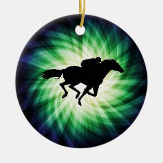 Horse Racing; Cool Round Ceramic Decoration
