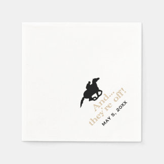 Horse Racing Derby Custom Black/Gold Disposable Napkins