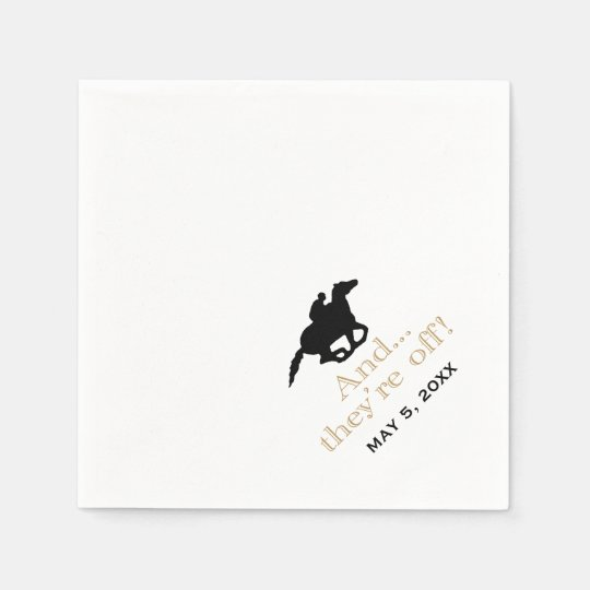 Horse Racing Derby Custom Black/Gold Disposable Napkins