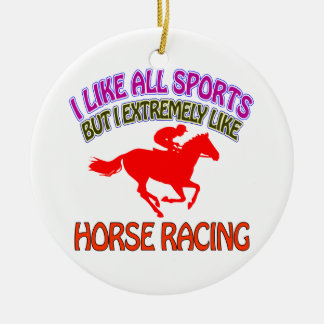 Horse racing designs round ceramic decoration