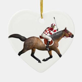 Horse Racing Jockey and Horse Ceramic Heart Decoration