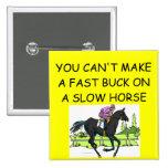 HORSE racing joke Button