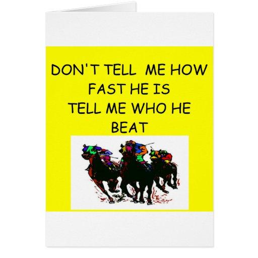 HORSE racing joke Greeting Cards