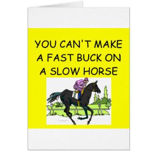 HORSE racing joke Greeting Card